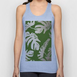 Palm Leaves White Gold Sands on Jungle Green Unisex Tank Top