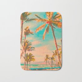 Vintage Hawaiian Beach, Mauna Lani Bay Teal Bath Mat