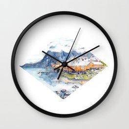 Scandinavian Lofoten Village Watercolor Wall Clock