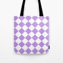 Large Diamonds - White and Light Violet Tote Bag