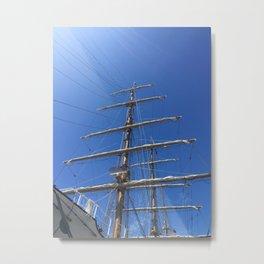 Old Sailing Ship Mast Metal Print