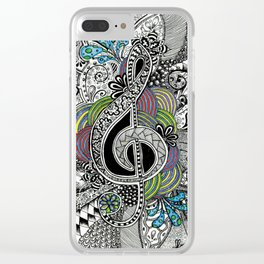 Musical Zentangle Clear iPhone Case