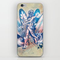 surfboard iPhone & iPod Skins featuring poseidon surfer on surfboard by Doomko