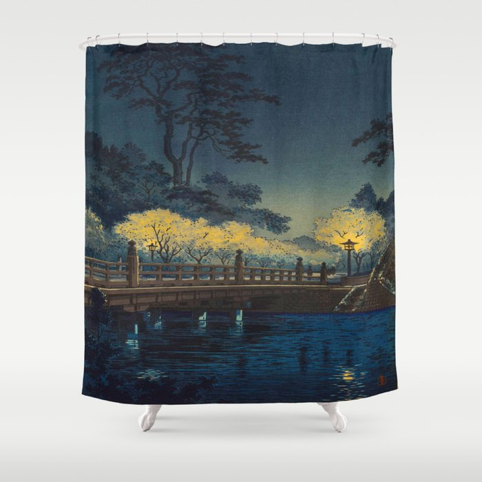 Tsuchiya Koitsu Benkei Bridge Vintage Japanese Woodblock Print Shower Curtain