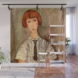 """Amedeo Modigliani """"Young Girl in a Striped Blouse"""" Wall Mural"""