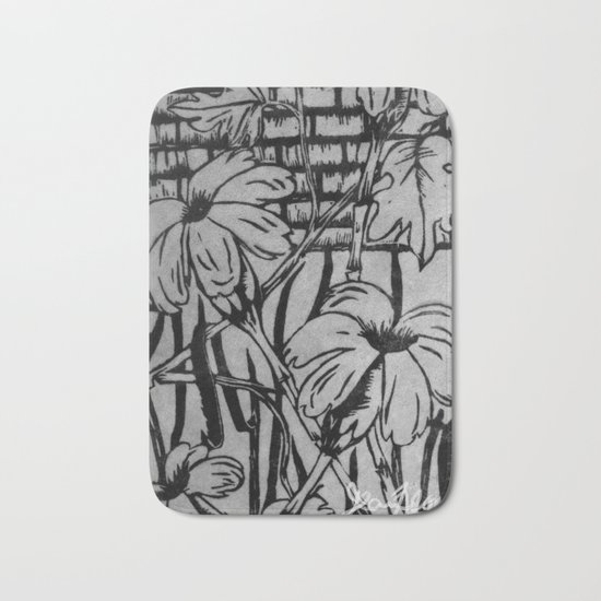 Black and White Palm Flowers by my Mom Bath Mat