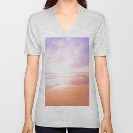 Sunset Beach Scene , Summertime, Pastel Sky Unisex V-Neck