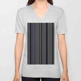 Blue on grey stripes Unisex V-Neck