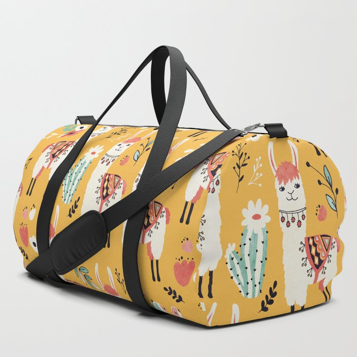 White_Llama_with_flowers_Duffle_Bag_by_Lidiebug__SET_OF_3