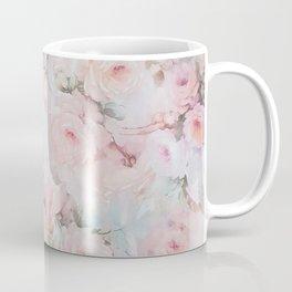 Vintage romantic blush pink teal bohemian roses floral Coffee Mug