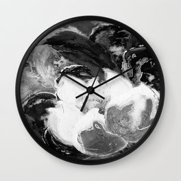 Purple Peonies in Gold with Red - Black and White Wall Clock