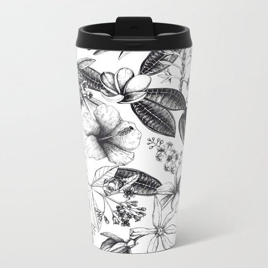 Black and White Vintage Tropical Flowers Pattern Metal Travel Mug