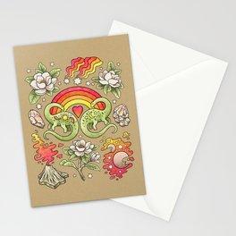 Love You Till Extinction   Watercolor Dinosaur Rainbow Art Stationery Cards