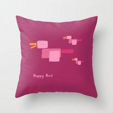 Happy Bird-Pink Throw Pillow