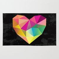 low poly Area & Throw Rugs featuring Low Poly Heart by Ariseli Modica