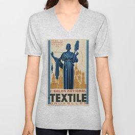 1938 Art deco Textile Expo Brussels Unisex V-Neck