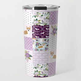 Corgi Patchwork Print - purple ,florals , floral, spring, girls feminine corgi dog Travel Mug