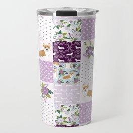 Corgi Patchwork Print - purple ,florals , floral, spring, girls feminine corgi dog Travel Mug