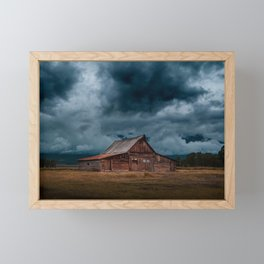 Log Cabin Barn Rural Landscape Framed Mini Art Print