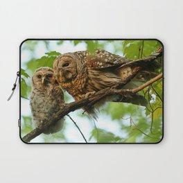 Barred owl mom and baby Laptop Sleeve