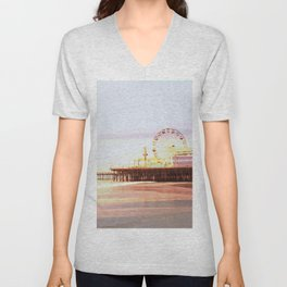 Santa Monica Pier Sunrise Unisex V-Neck