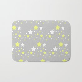 Yellow White Stars on Grey Gray Bath Mat