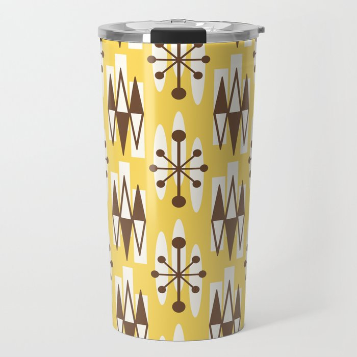 Retro Mid Century Modern Atomic Triangles 728 Brown and Yellow Travel Mug