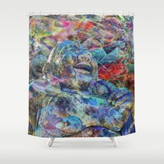 Jolly Pixel Budha Shower Curtain