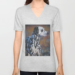 The Dalmatian dog art portrait from an original painting by L.A.Shepard Unisex V-Neck
