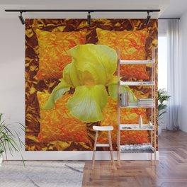 YELLOW GERMAN BEARDED IRIS FLOWER ON GOLD ART Wall Mural