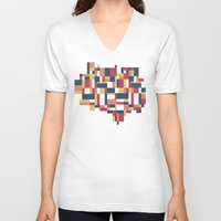 matisse V-neck T-shirts featuring Map Matisse #1 by Project M