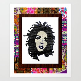 Lauryn Hill vintage fabric & wood grain patterned collage Art Print