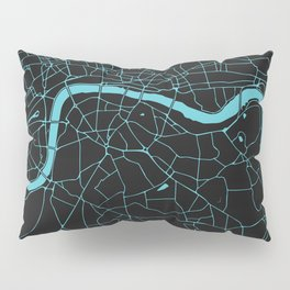 Black on Turquoise London Street Map Pillow Sham