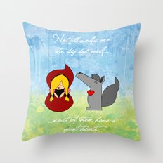 Little Red Riding Hood & Lovely Wolf ♥ Throw Pillow