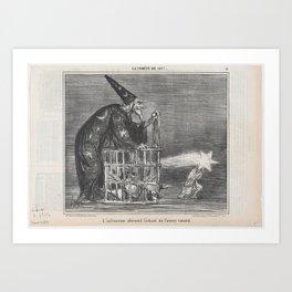 L'astronome allemand lâchant un fameux canard, from La Comète de 1857, published in Le Charivari, Ma Art Print