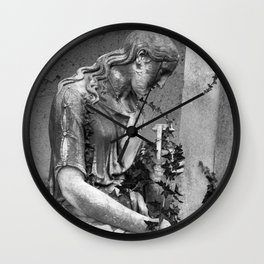 sad female statue Wall Clock