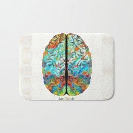 Colorful Brain Art - Just Think - By Sharon Cummings Bath Mat