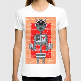 Nerdy Robot Print with math formulas in background T-shirt