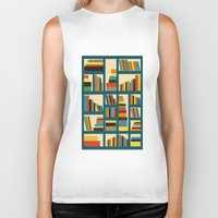 library Biker Tanks featuring library by vitamin