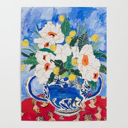 Queen of California - Giant Matilija Poppy Bouquet in Lion Vase on Blue Poster
