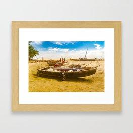 Boats at Sand at Beach of Jericoacoara Brazil Framed Art Print
