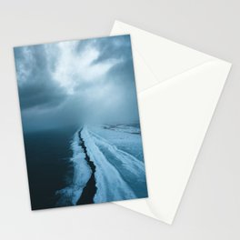 Moody Black Sand Beach in Iceland - Landscape Photography Stationery Cards