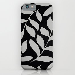 GRAY LEAVES BOUNTIFUL Gray and Black Fashion iPhone Case