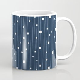 Squares and Vertical Stripes - Blue and White - Hanging Coffee Mug