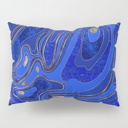 Marble Map - blue and gold Pillow Sham