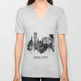 Cebu City Philippines Skyline BW Unisex V-Neck