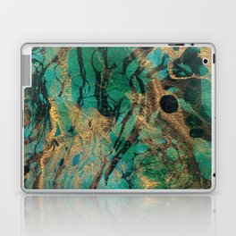 Green and Gold marbled paper Laptop & iPad Skin