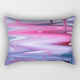 Dripping Fluid Paints; Pink, Blue and White Rectangular Pillow