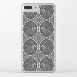 Grisaille Charcoal Grey Neo-Classical Ovals Clear iPhone Case