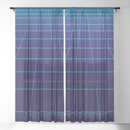 Minimalist Blue Gradient Grid Lines Sheer Curtain